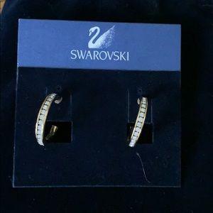 Swarovski gold hoop pierced earrings